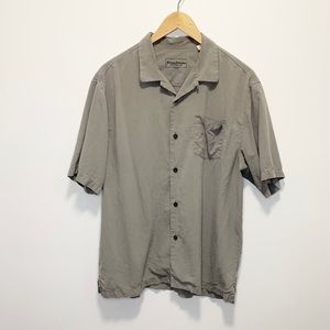 Tommy Bahama 100% Silk Button Up Large Gray
